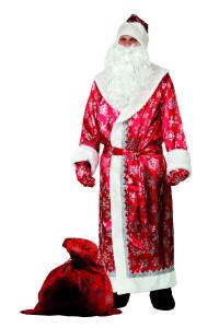 Дед Мороз сатин красный