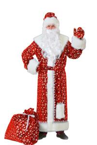 Дед Мороз плюш красный (184)